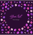greeting floral card on a dark background vector image vector image