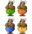 Hand-drawn of 4 Viking Bear in Colored Overalls vector image vector image
