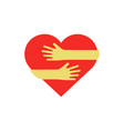 hands hugging red heart vector image