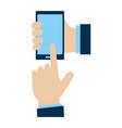 hands using smarphone device vector image vector image
