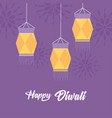 happy diwali festival hanging traditional lamps vector image vector image