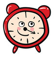 happy red alarm clock on white background vector image vector image