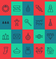 holiday icons set with gift sack taffy close vector image vector image