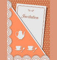 invitation card for coffee decorated with laceon vector image
