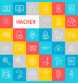 line hacker icons vector image