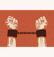 man hands in strained steel handcuffs vector image