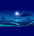 night sea landscape with moon stars and clouds vector image