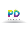 pd p d colorful letter origami triangles design vector image