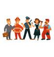 people professions fireman policeman businessman vector image