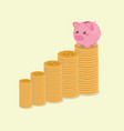 piggy bank on top of coins vector image vector image