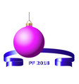 pink christmas ball 3d with blue ribbon and pf vector image vector image