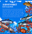 poster for seafood or fish food market vector image vector image