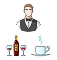 restaurant and bar cartoon icons in set collection vector image