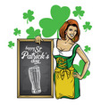 saint patricks day design beautiful girl lean on vector image vector image