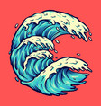 sea wave vacations surfing holiday vector image