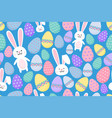 seamless easter pattern with ornamental eggs and vector image