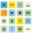 set of 16 multimedia icons includes note sound vector image vector image