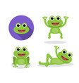 set of green frog in cartoon style vector image vector image