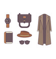 set of stylish winter clothes and accessories vector image vector image