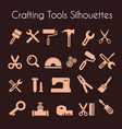set silhouette tools vector image