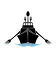 ship with antennas and oars like forks and a spoon vector image vector image