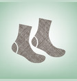 socks sign brown flax icon on green vector image vector image