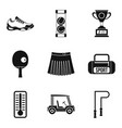 sport workout icons set simple style vector image vector image