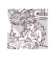 studing witch young lady reading a magic book vector image