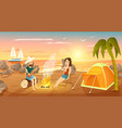 summer tourist camp on beach near sea vector image