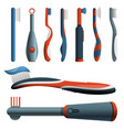 toothbrush icon set cartoon style vector image