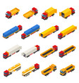 trailer trucks isometric collection vector image
