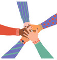 trendy with hands diverse group people vector image vector image