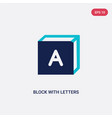 two color block with letters icon from education vector image