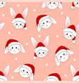 white rabbit santa claus on pink background vector image