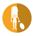 woman tourist with camera and suitcase shadow vector image vector image