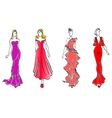 Womens in evening dresses vector image vector image