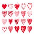 sketch set of red hearts shapes valentines design vector image