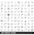 100 forest icons set outline style vector image vector image