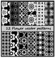 12 fower pattern vector image vector image