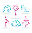 abstract people silhouette doing yoga for your vector image