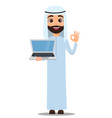 arab man in white clothes cute cartoon character vector image