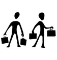 bags man silhouette symbols vector image vector image