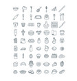 baking tools ingredients pastry items line icons