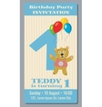 Birthday party invitation card with cute bear vector image vector image