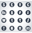 black currency symbols icon set vector image