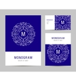 business set template with monogram letter vector image vector image
