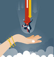 businessman is saved from a big hand vector image vector image
