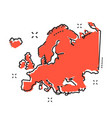 cartoon europe map icon in comic style europe vector image