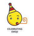 Celebrating emoji line icon sign