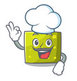 chef square character cartoon style vector image vector image